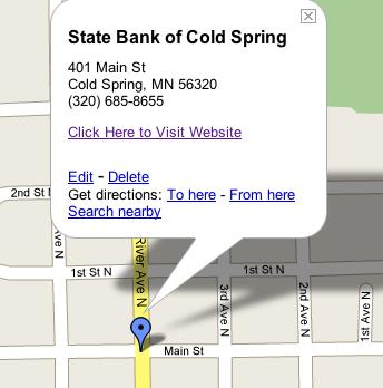 Statebankofcoldspringmap