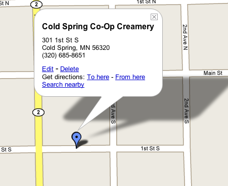 Coldspringcoopcreamerymap